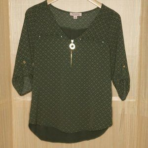 Tempted Womens New Green Paisley 3/4 Sleeve Roll Tab Blouse Small